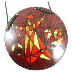 HUGE 1950s Barney Reid San Diego Handmade Copper Enamel Geometric Modernist Figure Pendant on Cord NECKLACE
