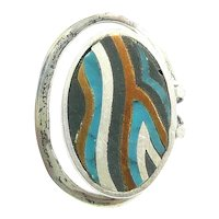 RARE 1950s Tono of Taxco Handmade Mixed Metals Sterling Silver Brass Black Onyx and Turquoise Mexican Modernist RING Size 6 US