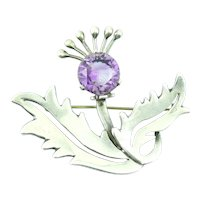 Miguel MELENDEZ Vintage 1950s Taxco Handmade Sterling Silver & Synthetic Alexandrite Mexican Modernist FLOWER Brooch PIN