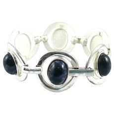 BIG 1960s Franz Scheurle Germany Handmade Sterling Silver & Lapis Lazuli Modernist Link BRACELET