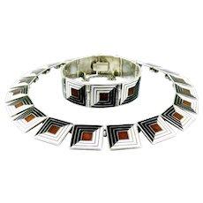MARGOT DE TAXCO Vintage 1950s Handmade Sterling Silver & Enamel SHADOW BOX Design 5461 Necklace & Bracelet SET