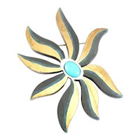 BIG 1950s TONO Taxco Handmade Mixed Metals Sterling Silver Brass Onyx & Turquoise Modernist FLOWER Brooch Pin PENDANT
