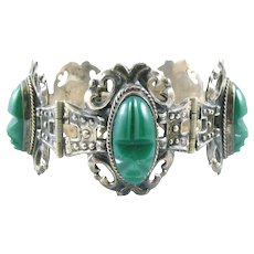 BIG 1940s Mexico Handmade Sterling Silver and Carved Green Onyx pre Columbian FACES Design Link BRACELET