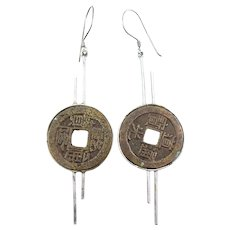 HUGE Vintage 1960s 70s Handmade Sterling Silver & Antique Chinese COIN Dangling Pierced EARRINGS