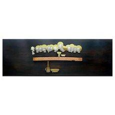HUGE 1950s Mexico Handmade Mixed Metals & Wood Modernist LAST SUPPER Design Wall Plaque ARTWORK