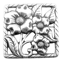 BIG 1930s 40s Walter Lampl Handmade Sterling Silver Floral Flowers Design Brooch PIN