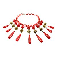 BIG Glamorous Vintage 1930s Ornate Brass & Cherry Red BAKELITE on Celluloid Chain Dangling NECKLACE