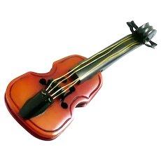 HUGE Vintage 1930s 40s Handmade Carved Two Color BAKELITE Musical Cello Design Brooch PIN