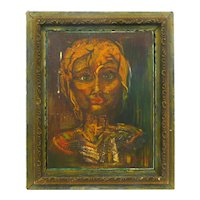 SUPERB 1969 Signed SANDY Original Oil on Board PORTRAIT of a WOMAN in Hand Painted Antique Wood Frame
