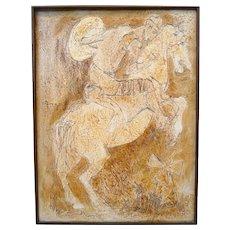 HUGE Original 1950s 60s Mary Anna Lehman California Oil Man on Horseback PAINTING