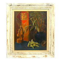 ORIGINAL 1940s 50s Oil on Canvas Still Life Chinoiserie in Original Matte and Wood Frame PAINTING Artwork