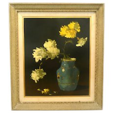 ORIGINAL 1950s Signed Oil on Artist Board Still Life Flowers in Vase in Original Matte and Wood Frame PAINTING Artwork
