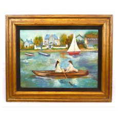 BIG Original 1950s 60s Oil on Canvas Impressionist Ladies in a Boat PAINTING Artwork in Matte and Gilt Wood Frame