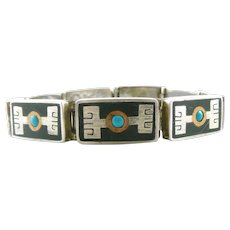 RARE 1950s 60s Tono Taxco Handmade Mixed Metals Sterling Silver Brass Black Onyx & Turquoise Mexican Modernist BRACELET