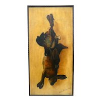 ANTIQUE Original 1892 SIGNED Oil on Canvas PAINTING of Hanging Game Rabbit & Birds in Original Gilt Wood Frame