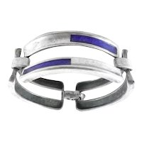 BIG 1960s 70s Ottaviani Italy Handmade Sterling Silver & Enamel Geometric Modernist Link BRACELET