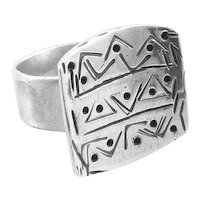 BIG Vintage 1950s 60s Handmade Sterling Silver Geometric Modernist Design RING - Adjustable Size 10