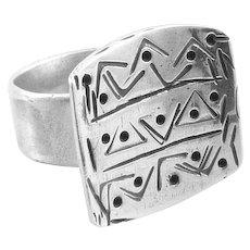 BIG Vintage 1950s 60s Handmade Sterling Silver Geometric Modernist Design RING - Adjustable Size 10