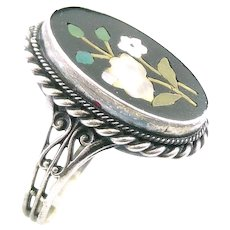 LOVELY 1940s 50s Handmade Italy Sterling Silver & Pietra Dura Ornate Floral Design RING - Size 7.5 US