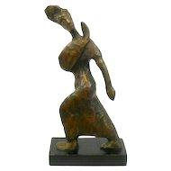 "MODERNIST Vintage 1950s 60s Cast Bronze Dancer Tai Chi Kung Fu Design SCULPTURE - 11.5"" tall!"