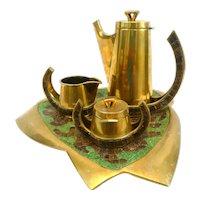 SUPERB 1950s 60s Salvador TERAN Handmade Brass & Green/Brown Glass Mosaic Mexican Modernist Complete COFFEE SET