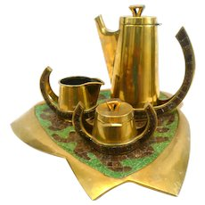SUPERB 1950s 60s Salvador TERAN Handmade Brass & Green/Brown Glass Mosaic Mexican Modernist Complete COFFEE SET