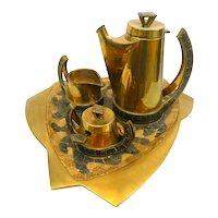 SUPERB 1950s 60s Salvador TERAN Handmade Brass & Caramel/Mocha Glass Mosaic Mexican Modernist Complete COFFEE SET