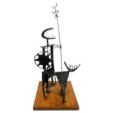 "RARE 1960s George Garner Beloit Wisconsin Hand Forged & Patinated Black Steel ""Warrior & Dog"" Modernist SCULPTURE"