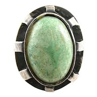 HUGE 1950s Johannan PETER Ein Hod Israel Handmade Sterling Silver & Eilat Stone Modernist RING Size 9