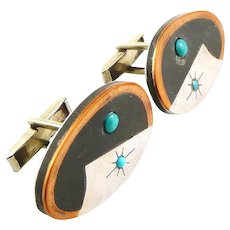 BIG Vintage 1950s Miguel Garcia MARTINEZ Taxco Handmade Married Metals Sterling & Turquoise Mexican Modernist CUFFLINKS