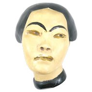 RARE 1930s 40s Hand Painted Chalk Ware CHINESE WOMAN Design Wall Hanging Dimensional BUST