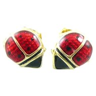 SUPER CUTE Pair of Vintage 1980s Signed Handmade 10K gold & Enamel Whimsical LADYBUG Pierced EARRINGS