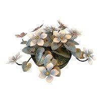 GORGEOUS Vintage 1950s 60s Bovano Handmade Copper Enamel Floral Design Sculpture CENTERPIECE