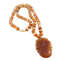 Vintage 1950s 60s Chinese Handmade 14K Gold Carnelian Beads & Carved Jade Pendant NECKLACE