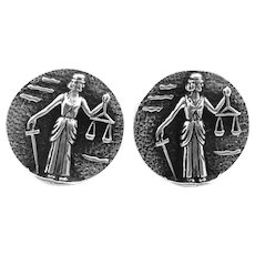BIG 1950s Handmade Sterling Silver BLIND JUSTICE Lawyer The Law Design CUFFLINKS