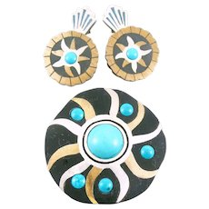 BIG 1950s TONO Taxco Handmade Mixed Metals Sterling Silver Brass Black Onyx & Turquoise Modernist SUN Brooch Pin/Pendant & Earrings SET