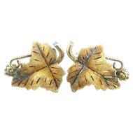 BIG 1960s 70s Signed Handmade Multicolor 10K Gold GRAPE LEAF Design Pierced EARRINGS