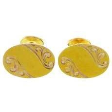 LOVELY 1920s 30s Signed Art Deco Hand Engraved Two Tone Rose & Yellow 10K Gold CUFFLINKS