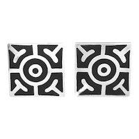 BIG 1950s Rancho Alegre Taxco Mexico Handmade Sterling Silver & Black Enamel Modernist Bullseye CUFFLINKS