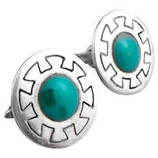BIG Vintage 1950s Felipe MARTINEZ Piedra Y Plata Taxco Handmade Sterling & Turquoise Mexican Modernist CUFFLINKS