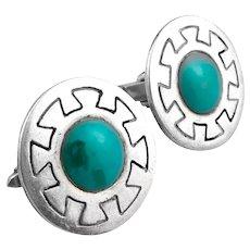 BIG Vintage 1950s Felipe MARTINEZ Piedra Y Plata Taxco Handmade Sterling & Turquoise Mexican Modernist CUFFLINKS
