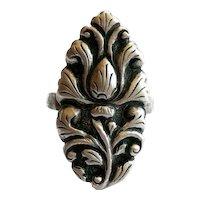 BIG 1930s 40s Signed Handmade 800 Silver Ornate Floral Design RING - Adjustable size presently 8.5 US