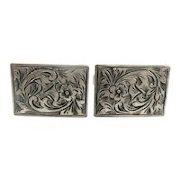 BIG Vintage 1950s 60s Hand Engraved 800 Silver European Floral Design CUFFLINKS