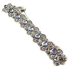 "MARGOT DE TAXCO Vintage 1950s Handmade Ornate Repousse Sterling Silver & Blue Glass Design 5302 Taxco Mexico BRACELET - 8"" long"