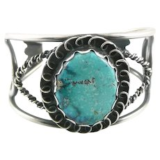 BIG Vintage 1960s 70s Native Tribal Old Pawn Handmade Sterling Silver & Turquoise Cuff BRACELET