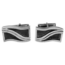 BIG Early 1950s Esther LEWITTES Los Angeles California Handmade Sterling Silver Mid Century Modernist CUFFLINKS