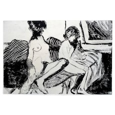 BIG Vintage Signed and Dated 1963 Original Etching JUNE FELTER Woman & Child 5/30 on Rives Paper