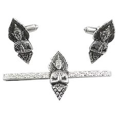 BIG Vintage 1950s 60s Siam Handmade Sterling Silver Praying BUDDHA Cufflinks & Tie Bar SET