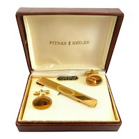 RARE Vintage 1940s 50s Pitman & Keeler 12K GF Art Deco Cufflinks & Tie Bar Clip SET in the Original Box