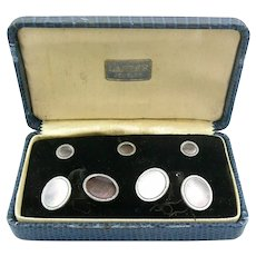 Vintage 1920s ART DECO Two Tone Rolled Gold Plate & Abalone Circular Cufflinks & Shirt Studs SET in Original Box
